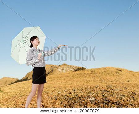Woman Taking Umbrella