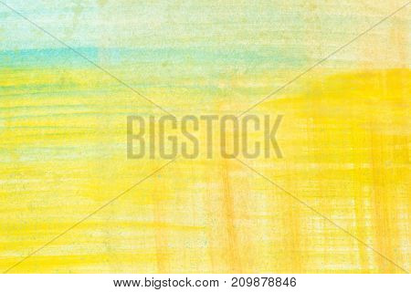 Yellow Abstract Watercolor Painting Textured On White Paper Background . .