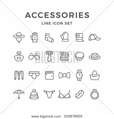 Set line icons of accessories isolated on white. Vector illustration