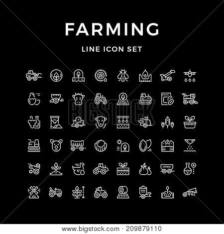 Set line icons of farming and agriculture isolated on black. Vector illustration