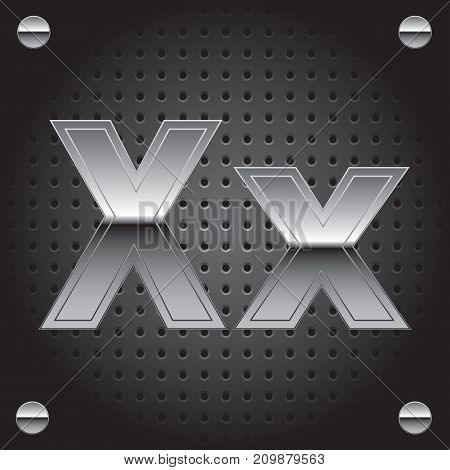 Vector set of silver metalic font on metalic perforated background - letter X