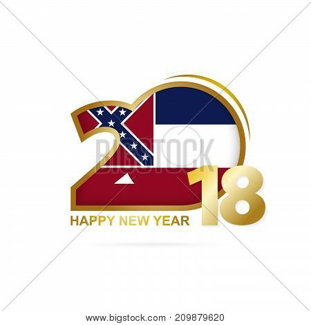 Year 2018 With Mississippi Flag Pattern. Happy New Year Design.