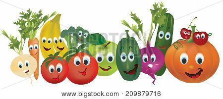 Illustration Collection of Animated Vegetables nad Fruits. Cucumber, Carrot, Pumpkin, Turnip, Pepper, Banana, Cherry, Beet, and Tomato, Characters with Facial Expressions. 3D Set of Vector Vegetables