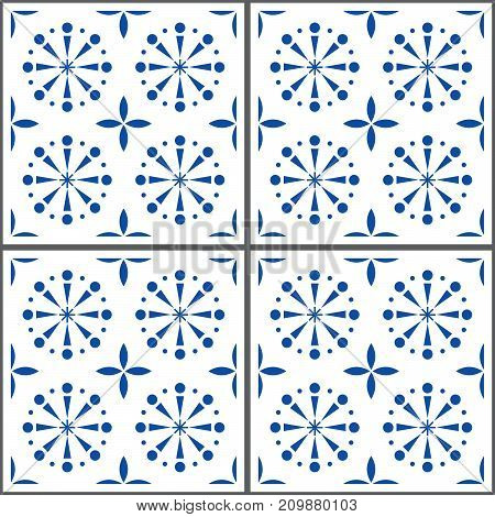 Portuguese vector tile pattern, Lisbon seamless indigo blue tiles, Azulejos vintage geometric ceramics