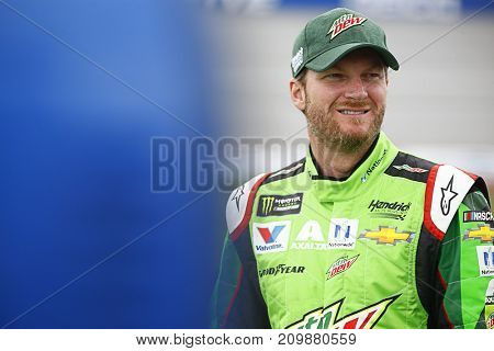 October 14, 2017 - Talladega, Alabama, USA: Dale Earnhardt Jr. (88) hangs out on pit road during qualifiying for the Alabama 500 at Talladega Superspeedway in Talladega, Alabama.