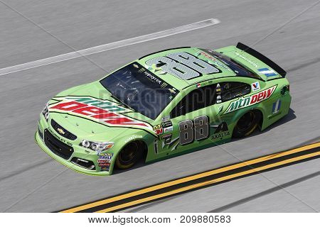 October 13, 2017 - Talladega, Alabama, USA: The car of Dale Earnhardt Jr. (88) brings his car through the turns during practice for the Alabama 500 at Talladega Superspeedway in Talladega, Alabama.