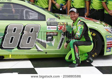 October 14, 2017 - Talladega, Alabama, USA: Dale Earnhardt Jr. (88) wins the pole for the Alabama 500 at Talladega Superspeedway in Talladega, Alabama.