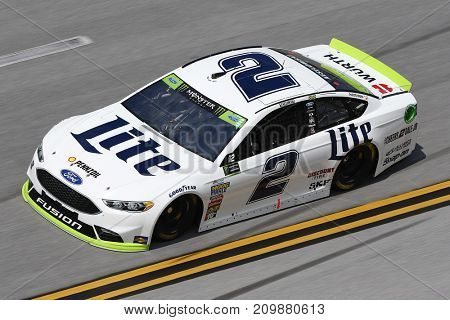 October 13, 2017 - Talladega, Alabama, USA: The car of Brad Keselowski (2) brings his car through the turns during practice for the Alabama 500 at Talladega Superspeedway in Talladega, Alabama.