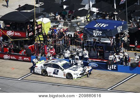 October 15, 2017 - Talladega, Alabama, USA: Brad Keselowski (2) comes down pit road for service during the Alabama 500 at Talladega Superspeedway in Talladega, Alabama.