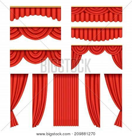 Set of red silk or velvet curtains with pelmets for theater stage. Classical scarlet theater drapery with light and shadows for opera decor, presentation design. Vector isolated on white background.