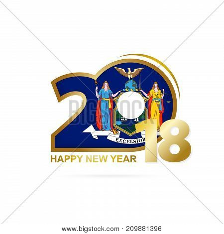 Year 2018 With New York Flag Pattern. Happy New Year Design.