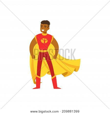 Black man superhero in classic comics red costume with yellow cape and mask. Smiling flat cartoon hero character with super powers. Friendly boy standing proud. Vector illustration isolated on white