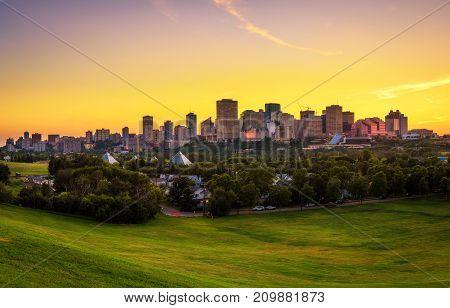 Summer sunset above Edmonton downtown, Alberta, Canada