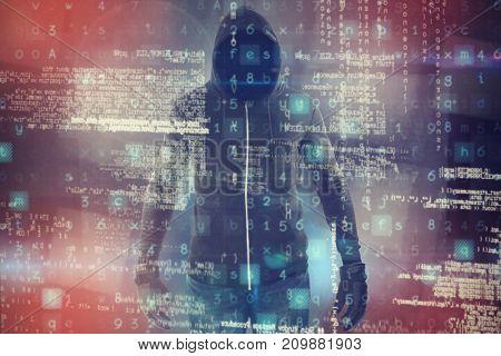 Robber wearing black hoodie against abstract black room