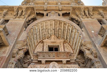 Low angled view of external facade of Baron Empain Palace Heliopolis district Cairo Egypt