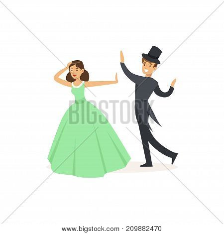 Professional actors play in dancing theatre performance on stage. Woman in ball gown, man in tailcoat and top hat. Cartoon actor character. Flat vector illustration isolated on white background.
