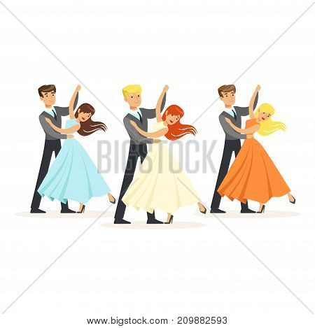 Cartoon couples characters of professional ballroom dancers dancing waltz on stage. Girls dressed in beautiful ball gowns, boys in dark blue suits. Vector illustration in flat style isolated on white.