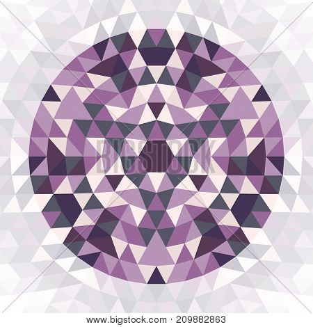 Round geometric triangle mandala design symbol - symmetric vector pattern graphic art from colored triangles