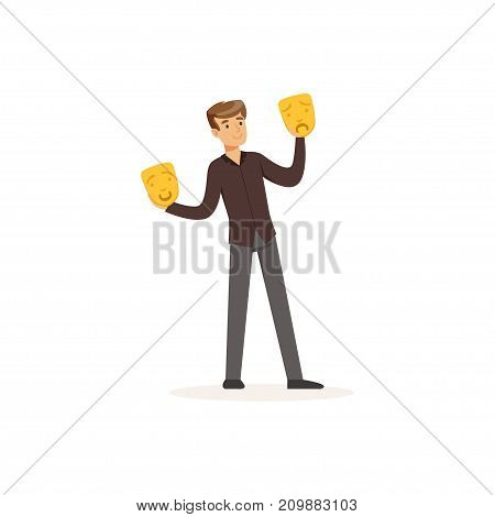 Young actor play in theatrical performance. Man dark shirt and pants, holding theatrical happy and sad masks. Colorful cartoon male character concept. Flat vector illustration isolated on white.