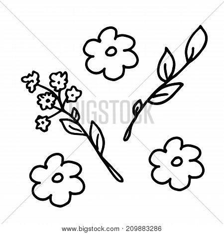 Freehand cartoon flowers and branches for patterns, fabric, textile, wrapping paper, invitation cards, birthday, decor, fashion, coloring book. Summer sketch.