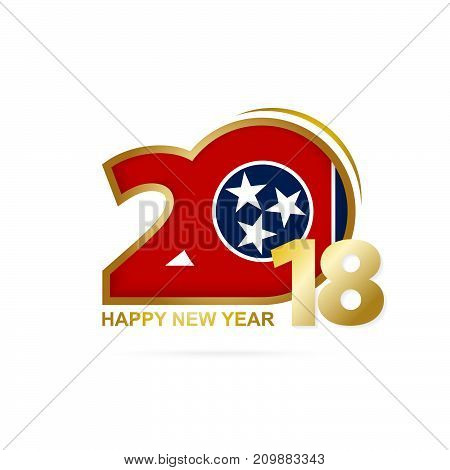 Year 2018 With Tennessee Flag Pattern. Happy New Year Design.