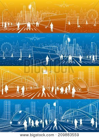 City life illustration set. Ship in port. Train at station. Modern architecture and busines town. Transport infrastructure. People walk down street. Illuminated highway. Vector design art