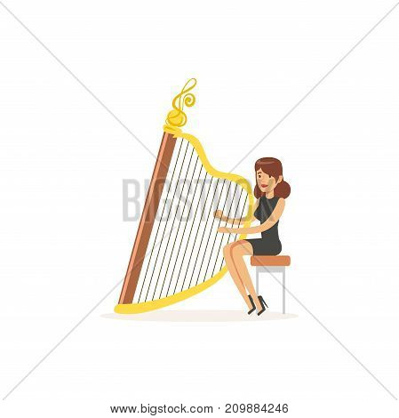 Young girl harpist in elegant black dress performing musical composition on stage. Stringed musical instrument. Professional at work. Colorful cartoon musician character. Flat vector isolated on white