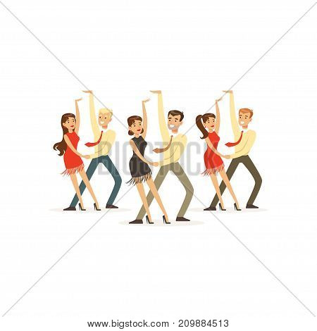 Couples of smiling people dancing latin american dance. Theatrical performance. Professionals at work. Colorful cartoon dancer character concept. Vector illustration in flat style isolated on white.