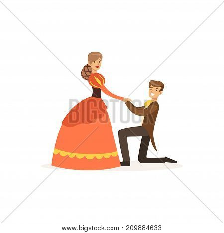 Couple of artists play in theatrical dramatic performance on stage. Woman in dress, man in tailcoat standing on knee. Professionals at work. Cartoon actor character. Flat vector isolated on white