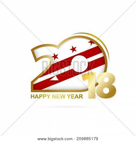 Year 2018 With District Of Columbia Flag Pattern. Happy New Year Design.