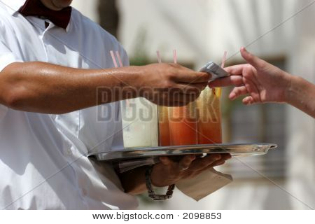 Waiter With Fruit Cocktails