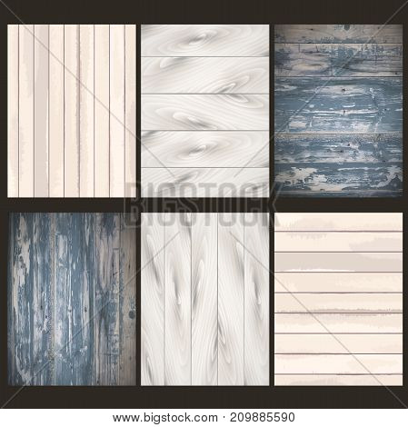 Perfect Colorful Texture of Wood in six gray tones. Vector illustration is freely transformed to your design format