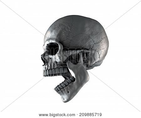 Skull man using rich shades of color on a white isolated background. The concept of death, horror. A symbol of spooky Halloween. 3d illustration of rendering.