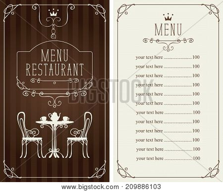 Vector menu for restaurant or cafe with a price list and a table chairs and tea in a curly frame in baroque style