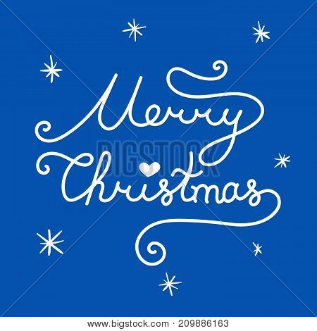 Merry Christmas Inscription. Linear Hand Drawn Lettering With Curves. Calligraphy Script On Blue Bac