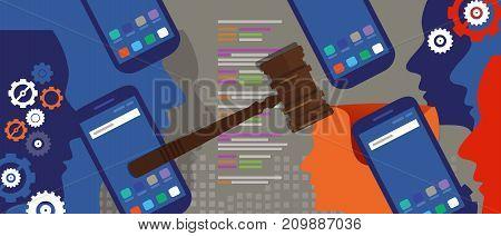 information technology internet digital justice law verdict case legal gavel wooden hammer crime court auction symbol vector