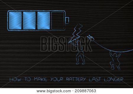 Battery With Men Holding Bolt And Plug Towards It