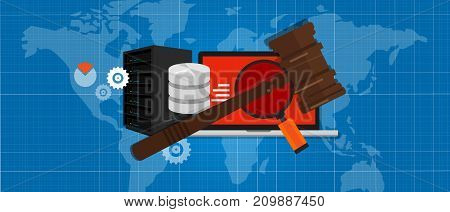 information technology internet digital justice law verdict case legal gavel wooden hammer crime court auction symbol vector