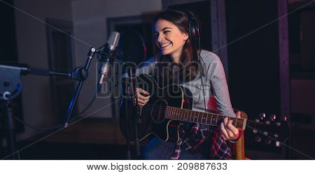 Singer Recording Her Album In Music Studio