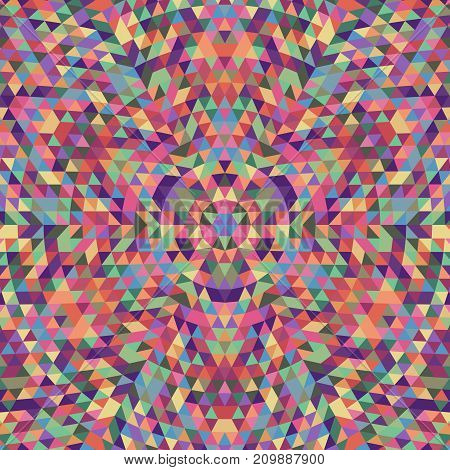Round geometric triangle kaleidoscope mandala background - symmetric vector pattern digital design from multicolored triangles