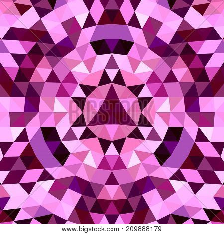 Round abstract geometrical triangle kaleidoscope background - symmetric vector pattern digital design from purple triangles