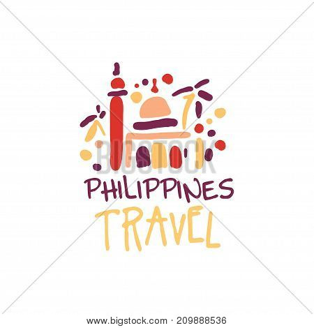 Travel and tourism logo concept for agency or tour operator. Handwritten lettering. Trendy doodle of Philippines Manila Cathedral for summer vacation or holidays. Hand drawn vector isolated on white.