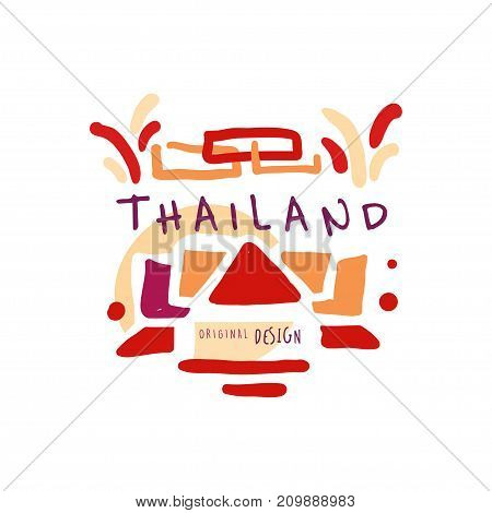 Travel and tourism logo concept for agency or tour operator. Handwritten lettering. Abstract kids doodle of Thailand for summer vacation or holidays. Hand drawn vector illustration isolated on white