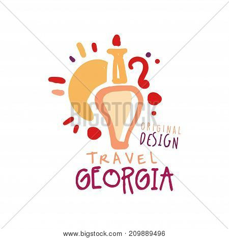Tourism Georgia logo concept for travel agency or tour operator. Handwritten lettering. Kids abstract jug of wine and sun doodle for summer vacation or holidays. Hand drawn vector isolated on white