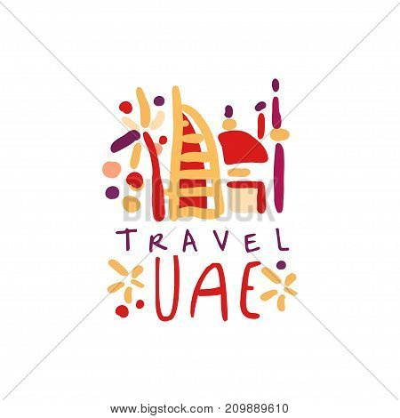 Travel and tourism logo concept for agency or tour operator. Handwritten lettering. Trendy kids doodle of UAE Dubai landmarks for summer vacation or holidays. Hand drawn vector isolated on white