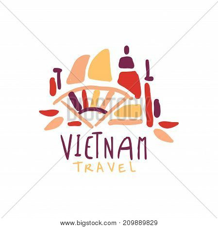 Travel and tourism logo concept for agency or tour operator. Handwritten lettering. Abstract kids doodle of Vietnam buildings for summer vacation or holidays. Hand drawn vector isolated on white