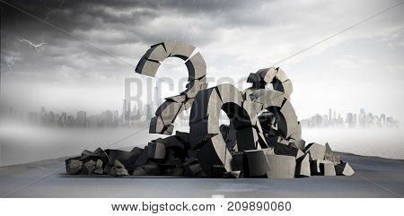 3d image of damaged question mark with various signs  against cityscape
