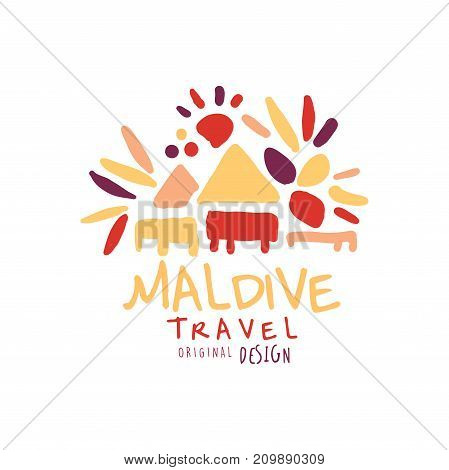 Travel and tourism logo concept for agency or tour operator. Handwritten lettering. Doodle of Maldive traditional beach bungalows for summer vacation or holidays. Hand drawn vector isolated on white