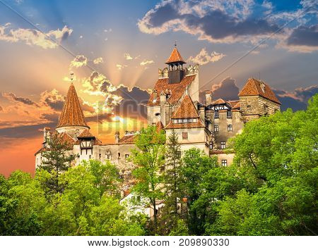 Beautiful and old architecture of the famous Dracula castle in Bran town. Medieval building of Transylvania in Europe Romania