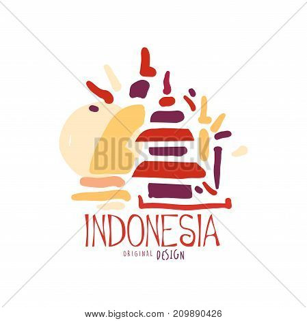 Indonesia tourism logo concept for travel agency or tour operator. Handwritten lettering. Ulun Danu Beratan Temple in Bali doodle for summer vacation or holidays. Hand drawn vector isolated on white